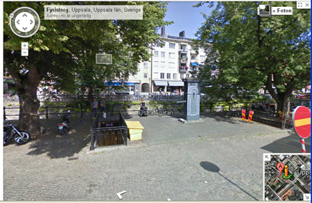 Click on the map to get to a map showing Fyris plaza (Fyris torg)
